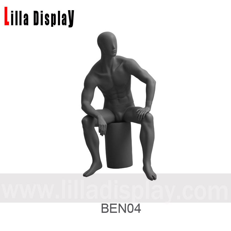 dark gray male abstract sitting mannequin left arm on the leg relaxing pose Ben 04