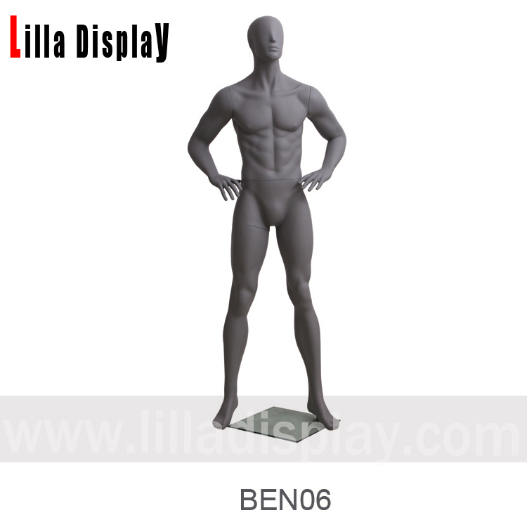 dark gray male abstract mannequin arms bending hands on waist BEN 06