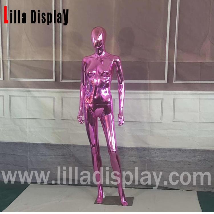 Lilladisplay-economie mannequin femme tête d'egghead en plastique rose chrome FC-18