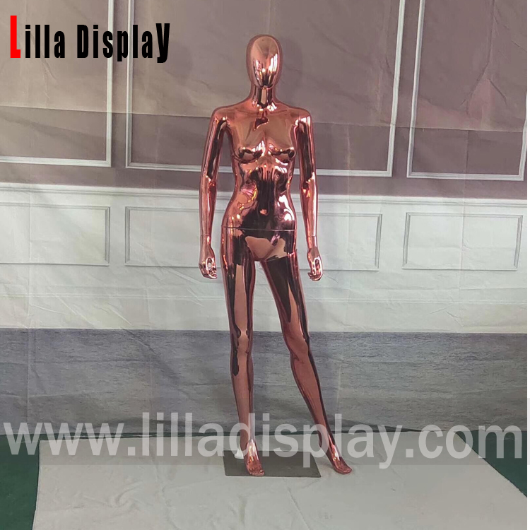 Lilladisplay- plastic economy garnet red chrome female egghead mannequin FC-1