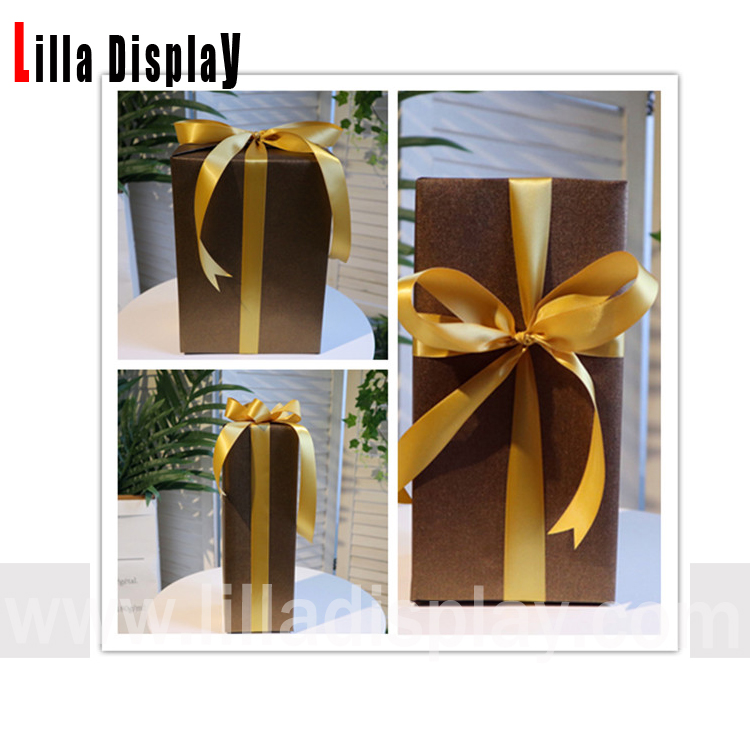 Three sizes Coffee color X'MAS new year seasonal display props decoration gift box with ribbons CGB01