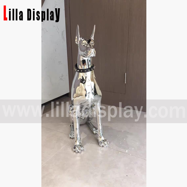 78cm height silver sitting Dobermann dog for home decoration store display