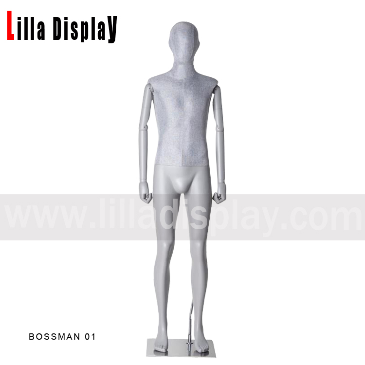 Full body gray color male dress form with gray color flexible arms Bossman01