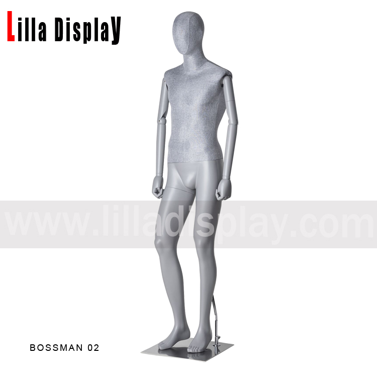 Full body relaxing man light gray color dress form with gray fabric torso Bossman 02