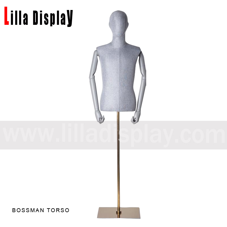 Light gray color male mannequin torso dress form Bossman torso