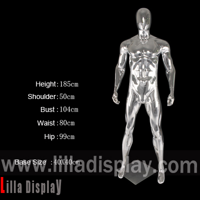 lilladisplay chrome sport straight pose full body athletic male mannequin JR-1
