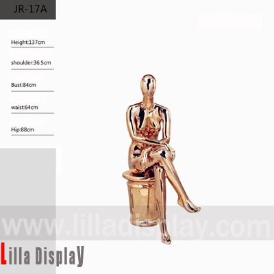 lilladisplay female sitting chrome gold color mannequin JR-17A
