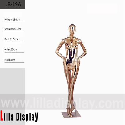 lilladisplay egghead female full body hands on hips chrome gold color mannequin JR-19A