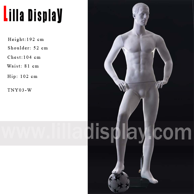 sport athletic football player male mannequin right leg stepping on ball pose TNY03-W