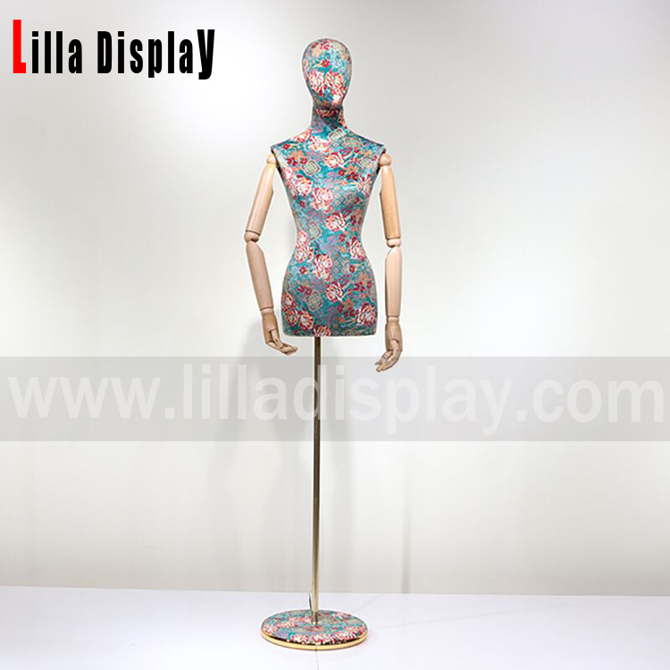 adjustable height print cloth egghead female dress form mannequin torso Joya01