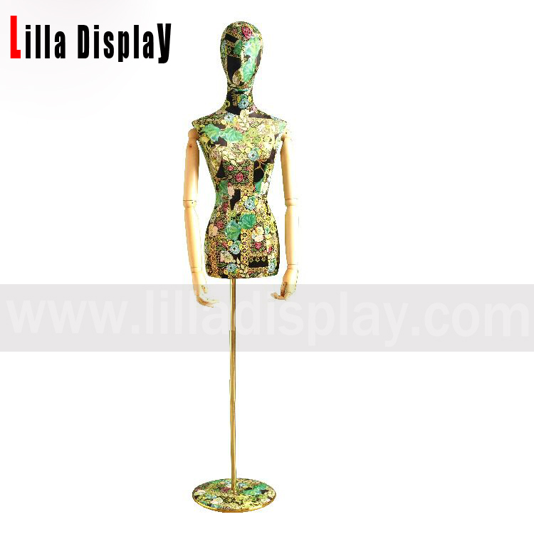 adjustable height print cloth egghead female dress form mannequin torso Joya02