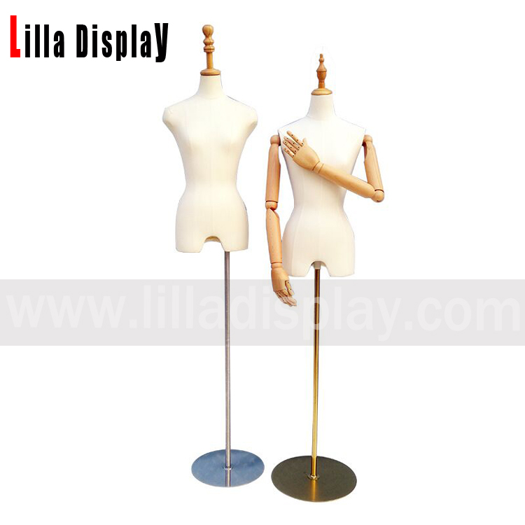 adjustable height base white cloth female dress form mannequin torso wooden neck YF01