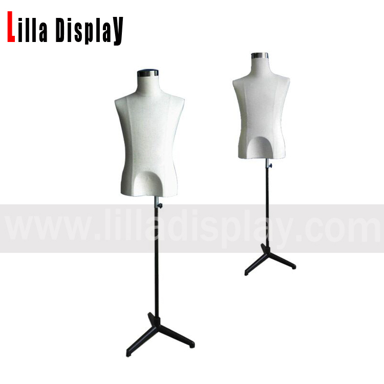 adjustable height black tripod natural linen male french mannequin dress form with silver cover YM01