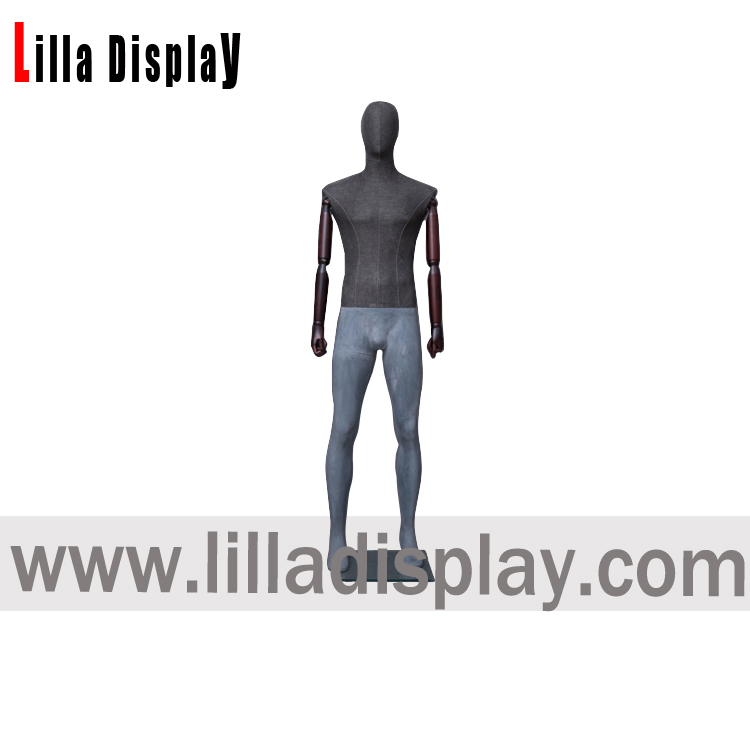 lilladisplay full body tailor gray jersey fabric man form with flexible antique wooden arms HMS01