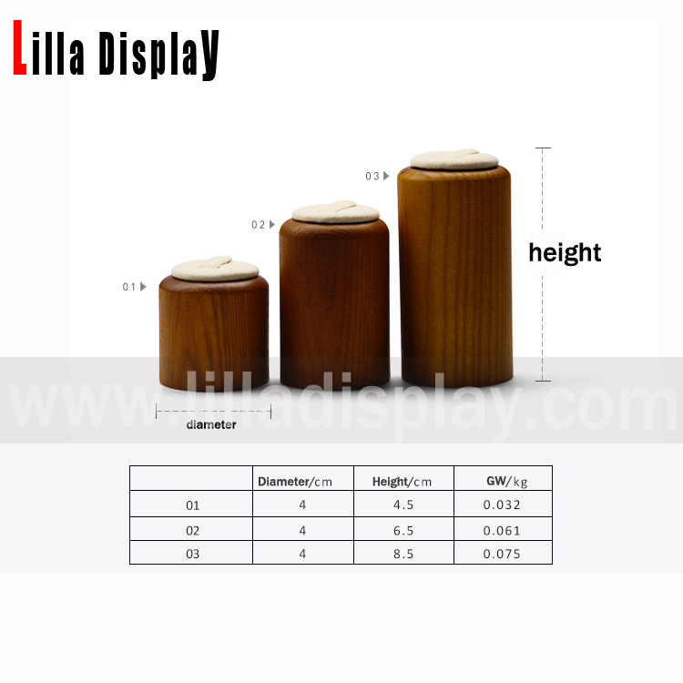 lilladisplay 3 sizes cylinder-shaped wooden rings jewelry display prop set DBN02