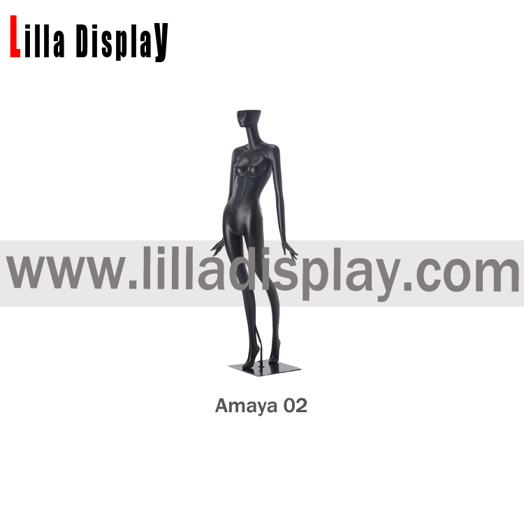 black color stylized female mannequin with half face amaya02