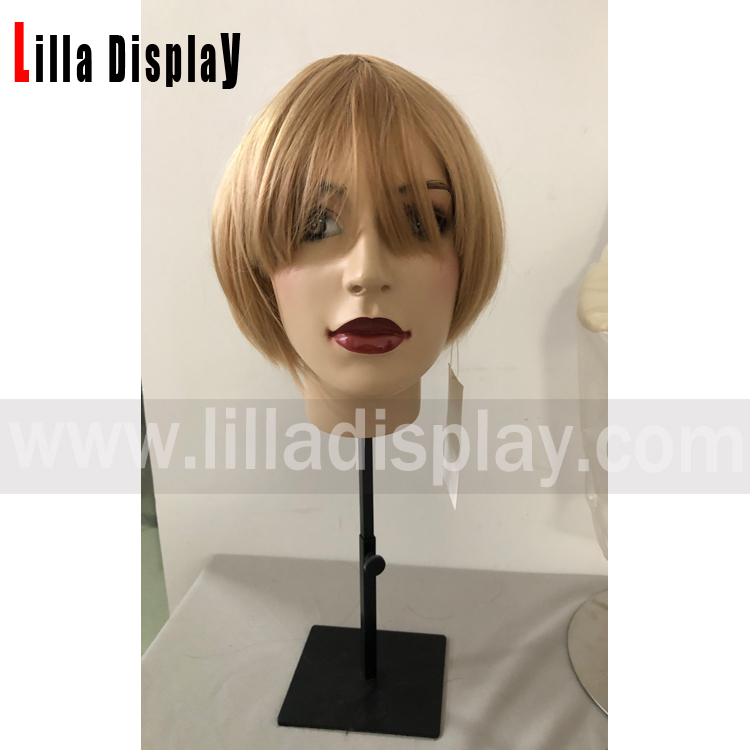 Lilladisplay high quality soft synthetic short bobo blond hair wig for makeup mannequins
