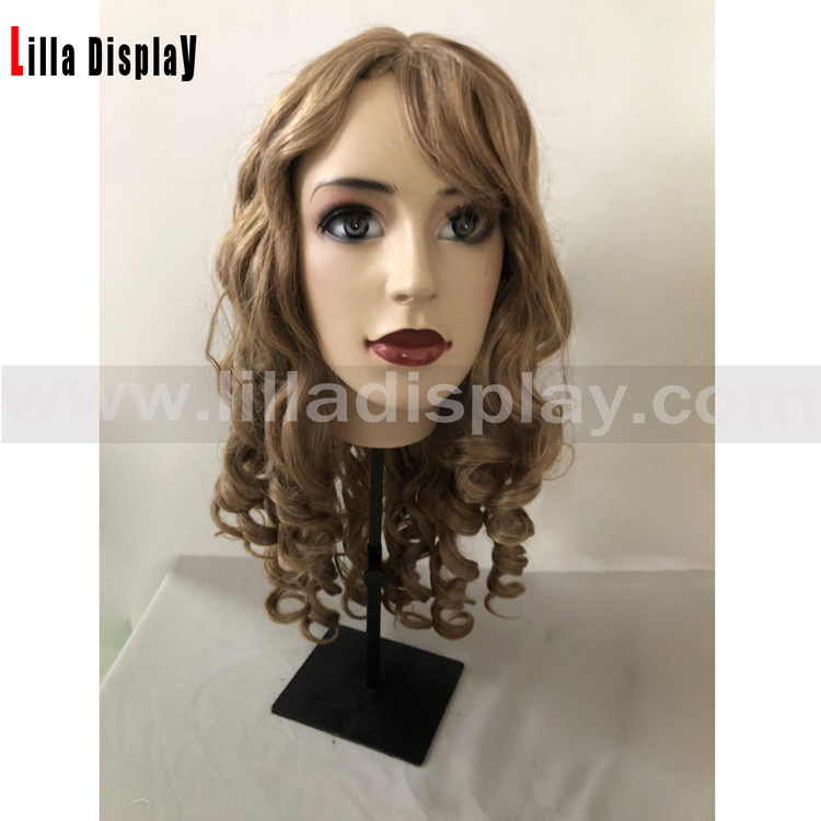 Lilladisplay blond length to shoulder curly hair wig for makeup mannequins