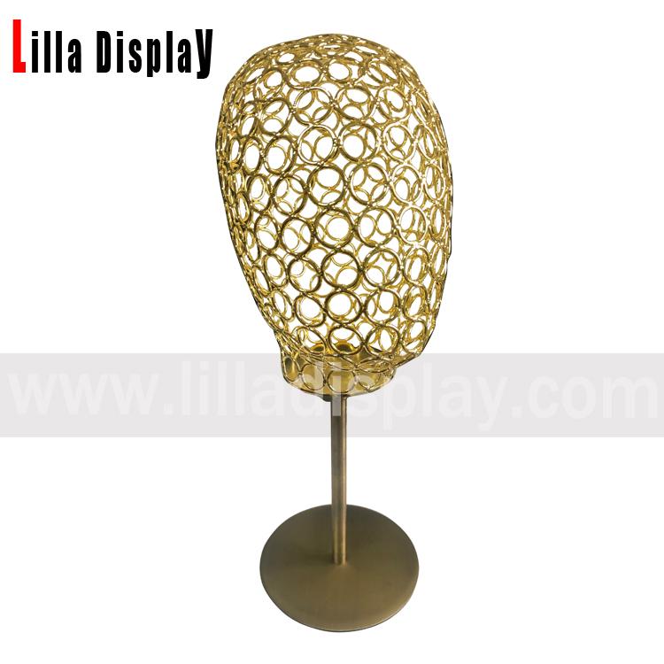 lilladisplay säädettävä korkeus pronssi pohja kultainen lanka naispuolinen mannekiinipää LD01