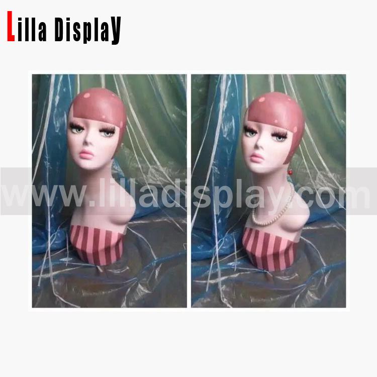 Warna halia BOBO solek rambut manekin kepala Doll02
