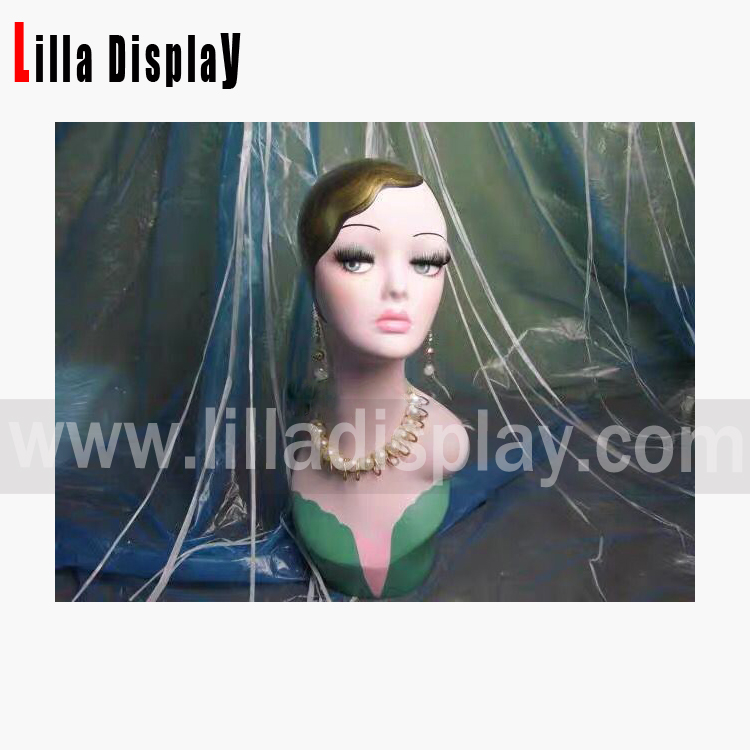 kepala manekin solek buatan tangan yang realistik dengan poni rambut kerinting Doll01