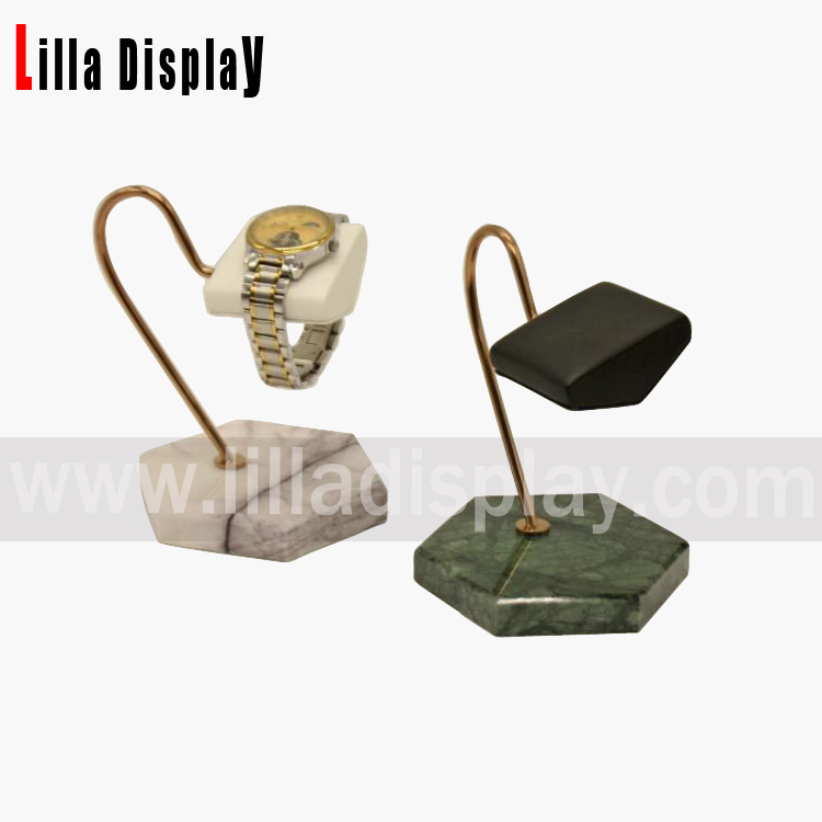 lilladisplay bending stand black or white color leather marble watch display WD02