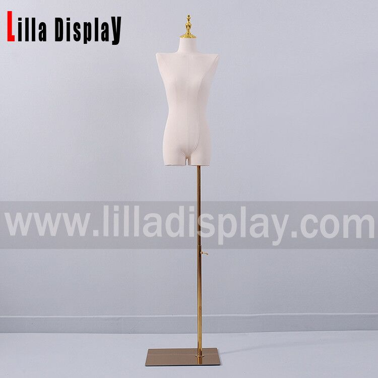 adjustable height gold color rectangle dress form stand base base09