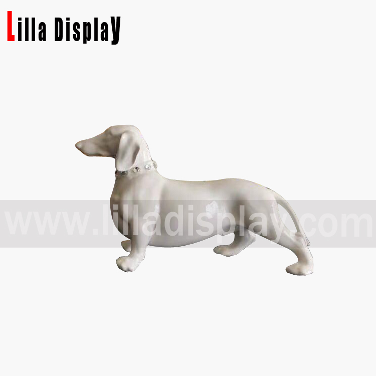 white glossy color walking Dachshund display figure for home and store decoration