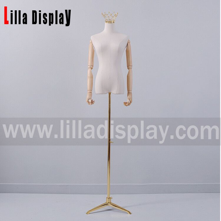 lilladisplay adjustable gold color tripod dress form stand base07