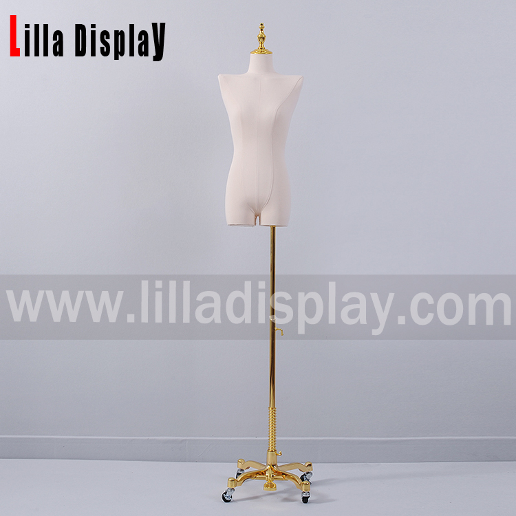 lilladisplay adjustable height gold color dress form base stand base04