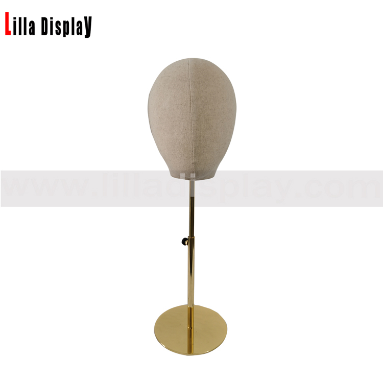lilladisplay cheap height adjustable gold color round base natural linen hats display fabric mannequin head  L01