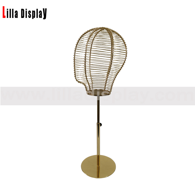 lilladisplay adjustable height gold base gold wire female mannequin head L04