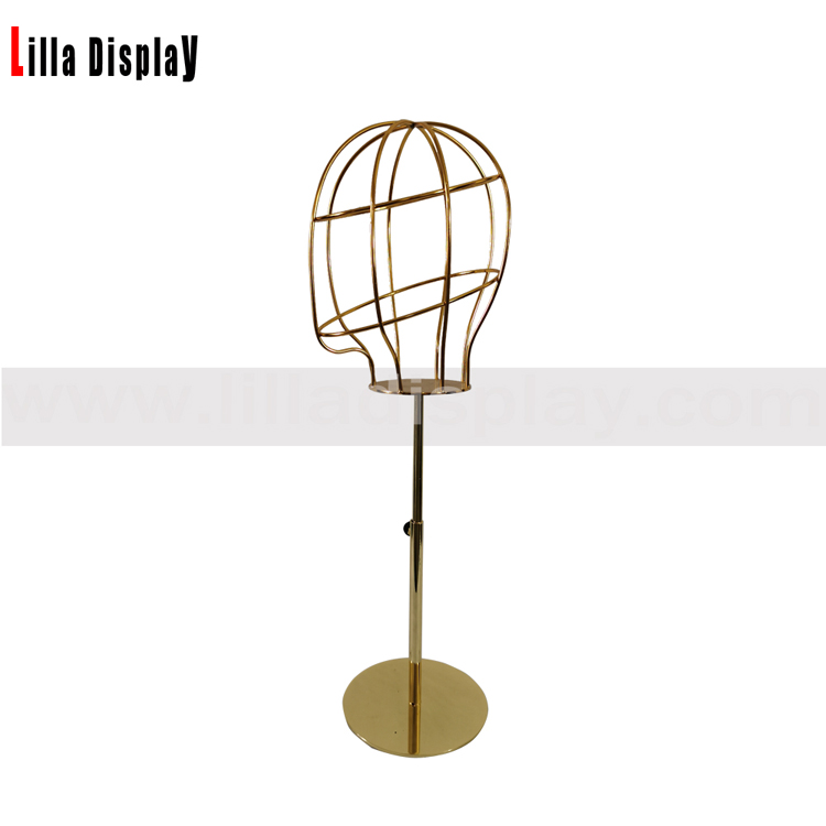 lilladisplay adjustable height gold base gold wire female mannequin head L05