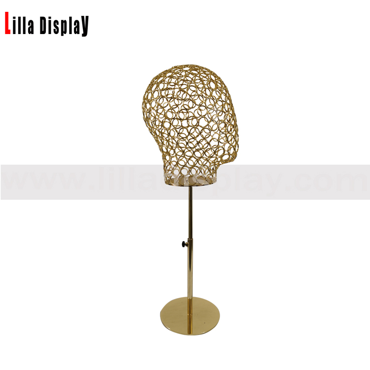 lilladisplay adjustable height gold base gold wire male mannequin head L07
