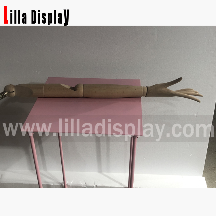 three parts flexible beech mannequin wooden arms with realistic fingers WA01