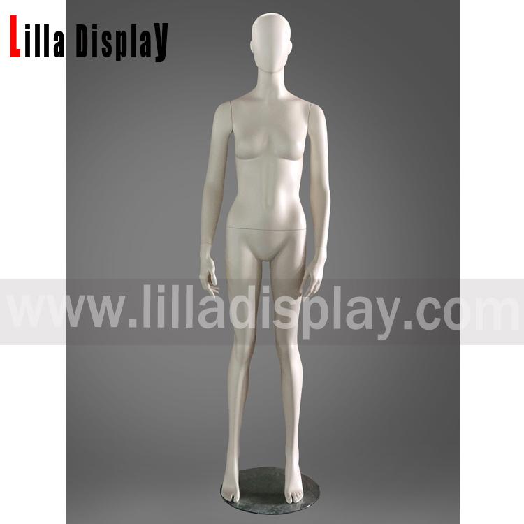 lilladisplay creme farve lige ben ansigtsløs kvindelig mannequin Jax01