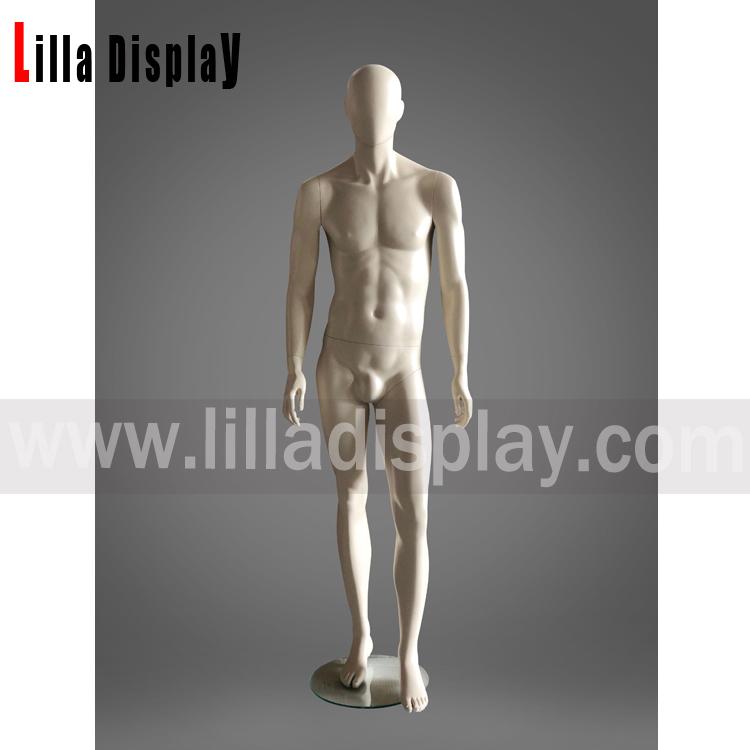 Lilladisplay lige arme cremefarvet ansigtsløs mandlig mannequin Fox02
