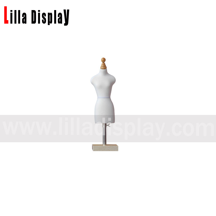 Lilladisplay cheap adjustable height square wooden base white cotton 1/3 scale mini size sewing dress form