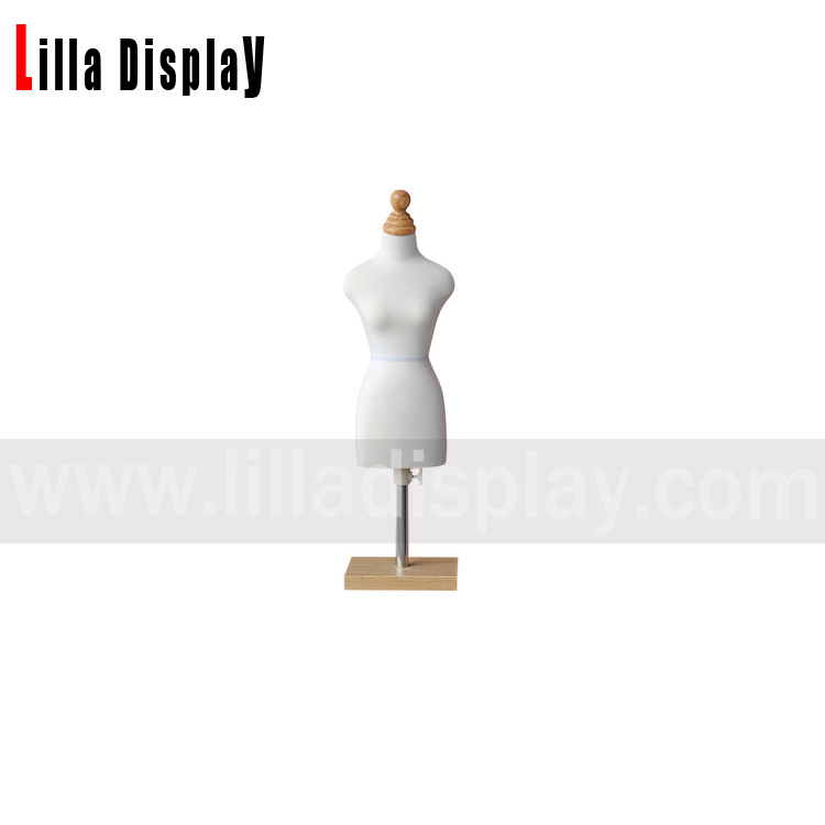 Lilladisplay cheap adjustable height white cotton 1/2 scale mini size sewing dress form