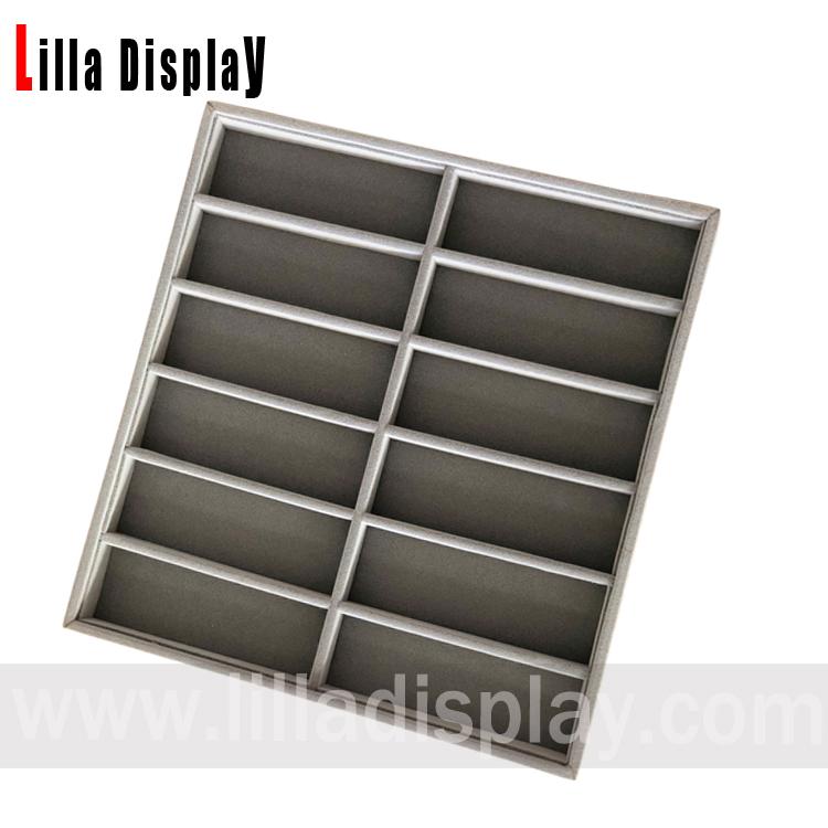 Lilladisplay gray velvet 12 slots sunglasses jewelry display organzier tray SG01