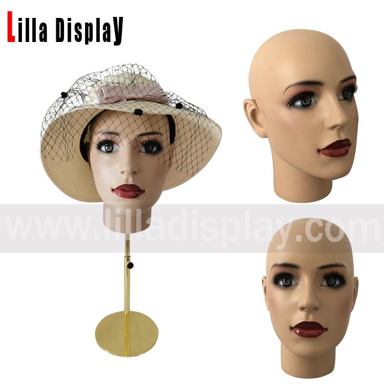 lilladisplay adjustable height European style realistic makeup female mannequin head Anita