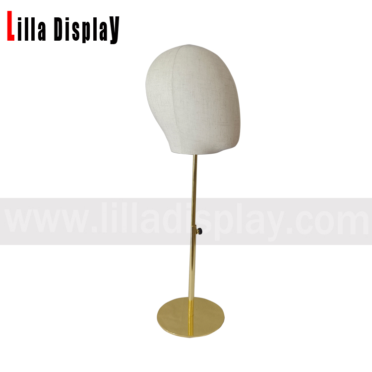 lilladisplay adjustable height gold base white linen male mannequin head for hats display, headband display, headphone display,wigs display MH05