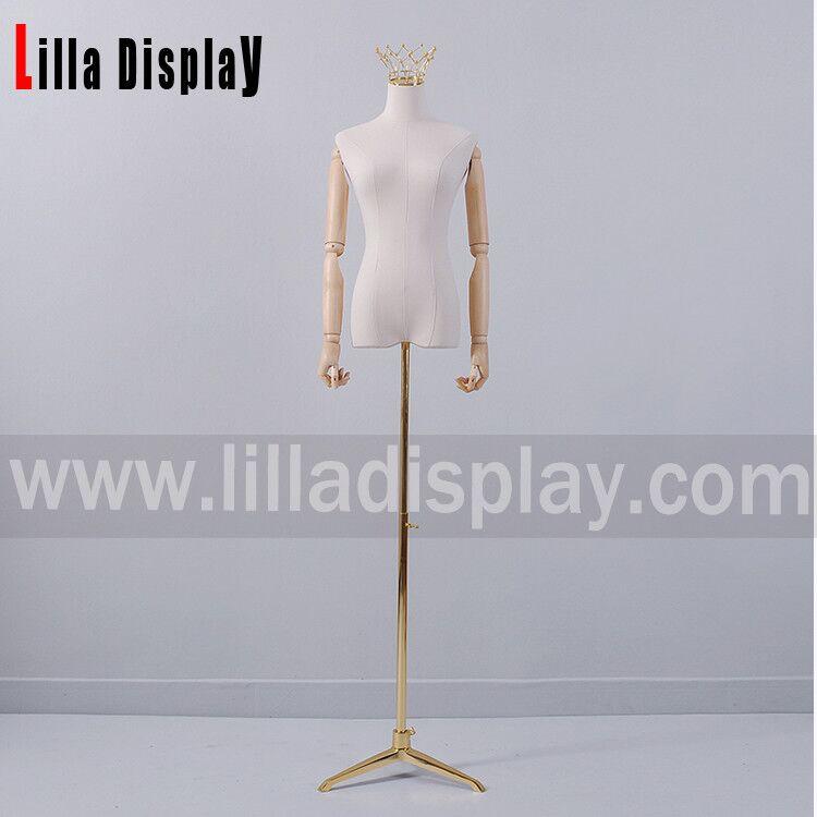Lilladisplay in hoogte verstelbare gouden statiefvoet natuurlijke linnen vrouwelijke jurk vorm HY02
