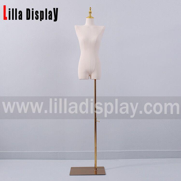 Lilladisplay off-shoulder natuurlijke linnen vrouwelijke mannequin jurk vorm met benen Geen armen HY01