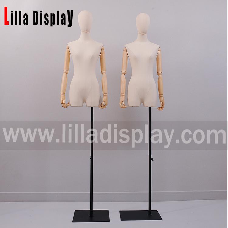 lilladisplay verstelbare egghead natuurlijke linnen vrouwelijke jurk vorm met benen HY03