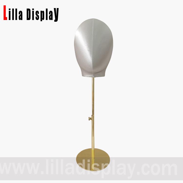 lilladisplay adjustable gold base gray color silk cover female mannequin head Olga