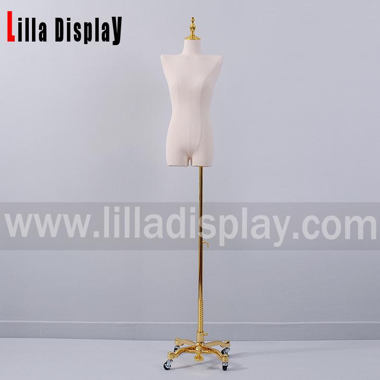 lilladisplay luxury gold wheel base off shoulder no arm female dress form HY05