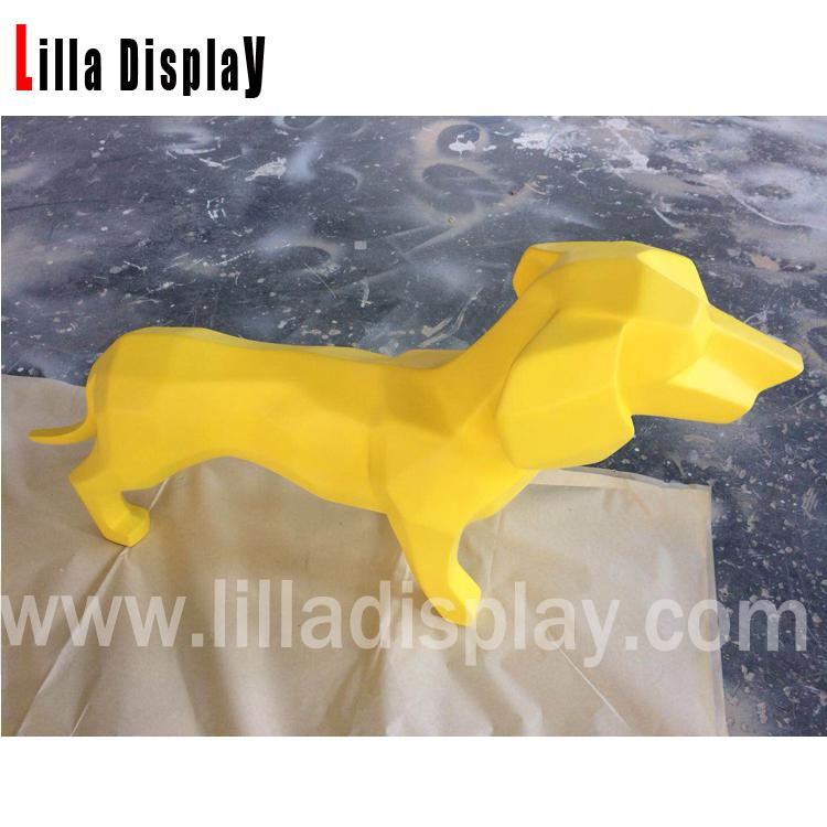 فایبر گلاس زرد مینیاتوری سگ داچ شاند شکل AL01