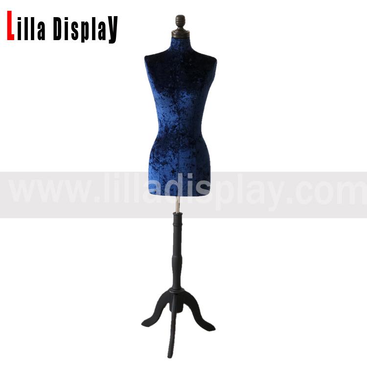 lilladisplay adjustable black tripod base blue velvet female dress form Angie