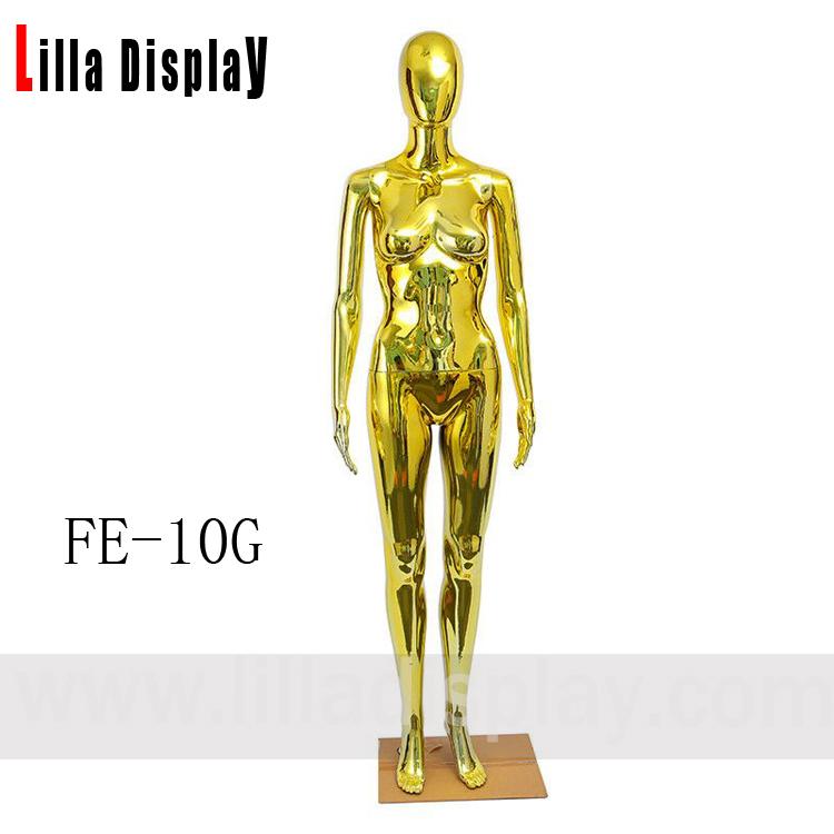 სწორი პოზა ოქროს ქრომი ქალი მანეკენი FE-10G